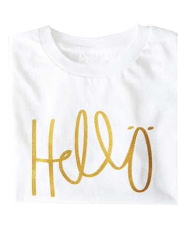 "Lotta + Pepe T-Shirt ""Hellö"" in Weiß/Gold"