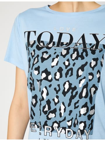 KOTON Damen T-Shirt -everyday is new day in blau