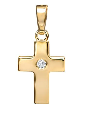 JEVELION Kreuzanhänger vergoldet 925 Silberkreuz Kreuz in gelbgold