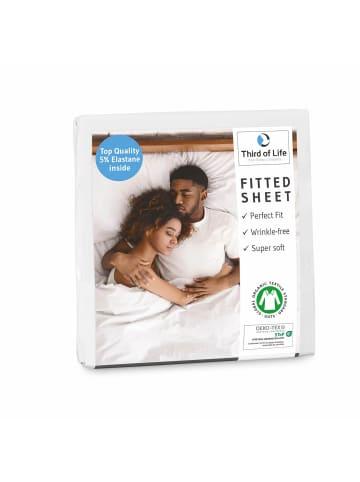 """Third of Life Spannbettlaken """"BENE"""" aus Baumwolle GOTS zertifiziert und faltenfrei in Weiß"""