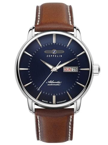 Zeppelin Automatikuhr für Herren Atlantic Blau / Braun / Silber