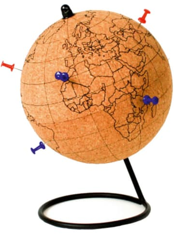 Gift Republic Kork Globus zum Bemalen mit Pin-Nadeln & Buntstiften