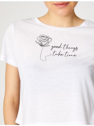 KOTON Damen T-Shirt -good things take time in weiss