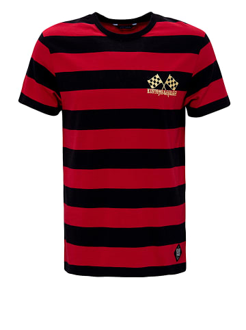 King Kerosin Shirt mit dezenter Stickerei an der Brust in Black / Red