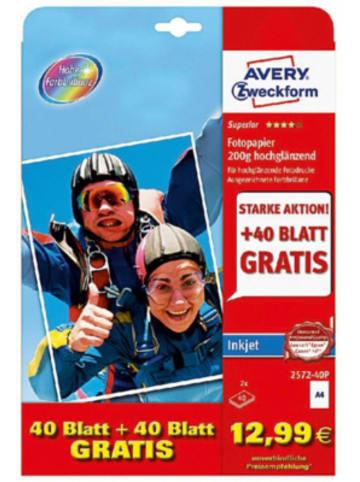 AVERY ZWECKFORM Fotopapier 2572-40P A4 80Bl