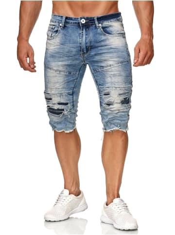 Leeyo Denim Bermuda Jeans Shorts in Hellblau