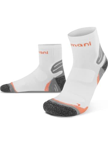 Normani 3 Paar Kurzschaft-Sportsocken mit verstärkter Sohle in Weiß/Orange