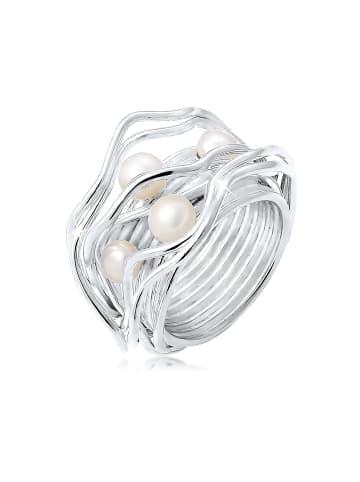 Nenalina Ring 925 Sterling Silber Perle, Perlenring in Silber