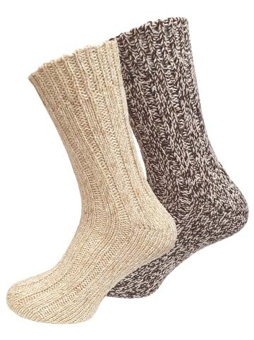 Cotton Prime® Norweger Strick-Socken 2 Paar, Unisex in beige