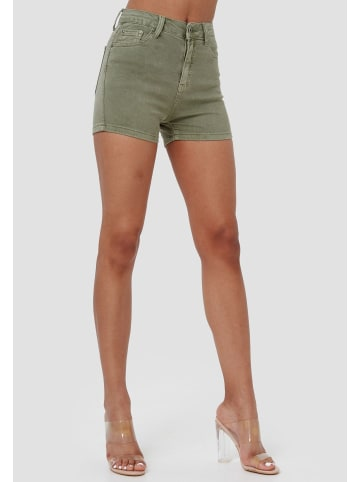 Miss Anna Jeans Shorts Kurze Skinny Stretch Hosen Capri Hot Pants in Olive