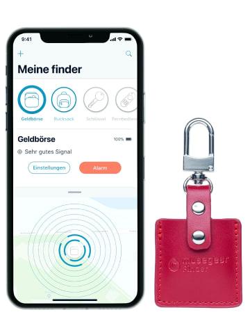 """Musegear Bluetooth-Schlüsselfinder """"Finder 2"""" in bordeaux roter Ledertasche"""