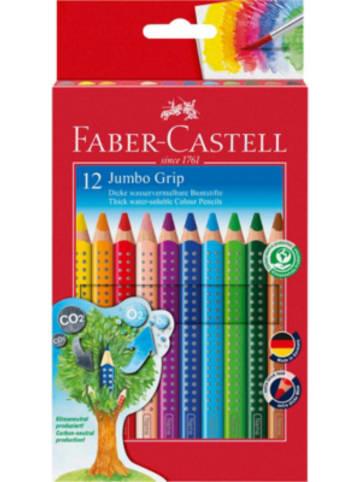 Faber-Castell Buntstifte JUMBO GRIP wasservermalbar, 12 Farben