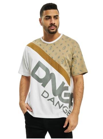 DNGRS Dangerous Design Print Kurzarm T-Shirt in Beige