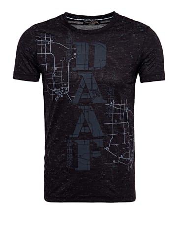 Daniel Daaf Daniel Daaf DANIEL DAAF T-Shirt in Flammgarnoptik mit Frontprint in schwarz