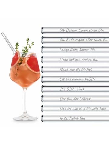 """HÅLM 20er Set Trinkhalm: """"Gin Edition Party Set"""" Glas-Strohhalme in Transparent - 20 cm"""