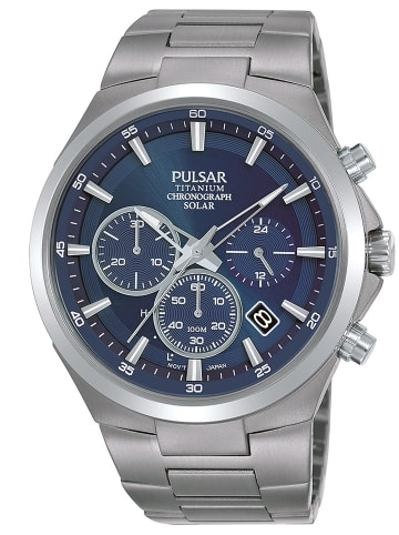 Pulsar Herrenuhr Titan Solar Chronograph Blau / Silber