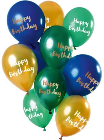 FOLAT Luftballons Happy Birthyday gold/blau/grün 30 cm, 12 Stück