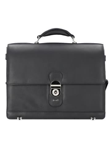 Alassio Monza Aktentasche Leder 38 cm Laptopfach in schwarz