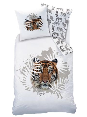 """Matt & Rose Kinder Bettwäsche-Set """"Tiger"""" in Weiß"""