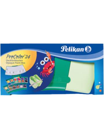 Pelikan Deckfarbkasten ProColor grün, 24 Farben, inkl. Deckweiß & 2 Wasserboxen