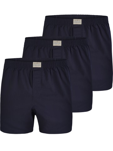 Lakeford & Sons Web Boxershorts 3-Pack 'Uni Dyed' in Dunkelblau