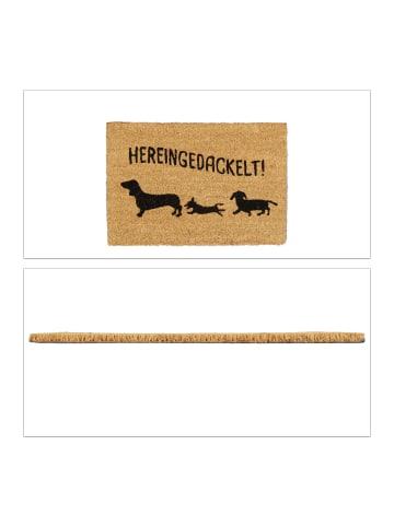 Relaxdays Fußmatte Hereingedackelt in Braun - (B)60 x (T)40 cm