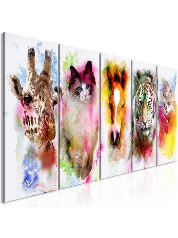 Artgeist Wandbild Watercolour Animals (5 Parts) Narrow in mehrfarbig