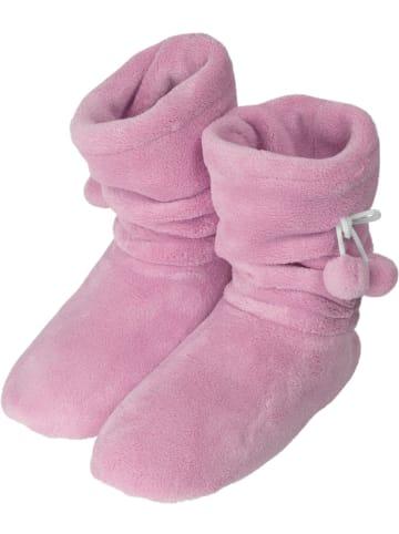 Normani Damen-Fleece-Hausschuhe mit Bommeln in Rosa