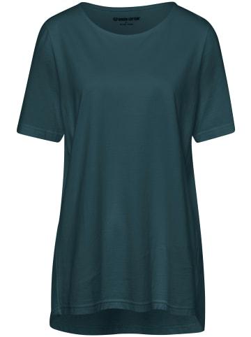 Green Cotton Shirt mit Rundhalsausschnitt in dunkelgrün