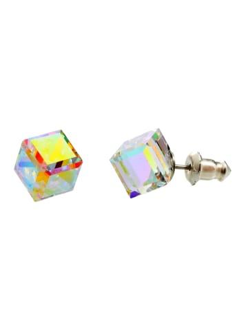 "Exclusive Edition  Ohrringe ""Cubik Screw"" mit Swarovski Kristallen in Aurore Boreal"