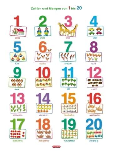 Spielend Lernen Fragenbär-Lernposter, Zahlen und Mengen von 1 bis 20 (Hochformat)