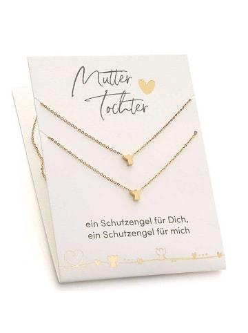 Himmelsflüsterer  Engel-Halsketten für Mutter & Tochter mit Geschenkkarte - Farbe: Gold