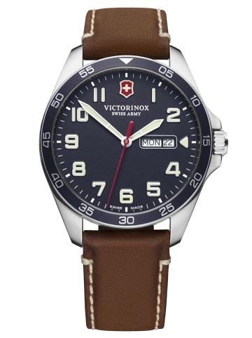 Victorinox Herren-Armbanduhr Fieldforce Blau / Braun / Silber