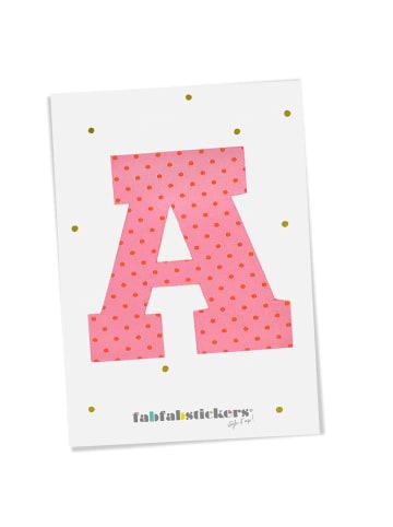 """Fabfabstickers Buchstabe """"A"""" aus Stoff in Pink-Mix zum Aufbügeln"""