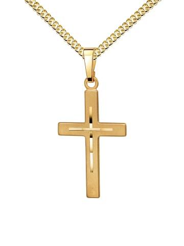 JEVELION Kreuzanhänger 585 Gold + Kette. Kreuzkette in gelbgold