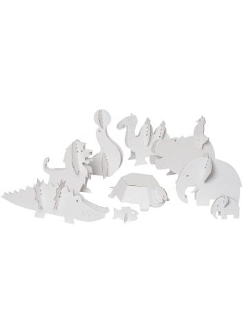 """Bibabox 9tlg.-Set: Pappspielzeug """"Zootiere"""" in Weiß"""