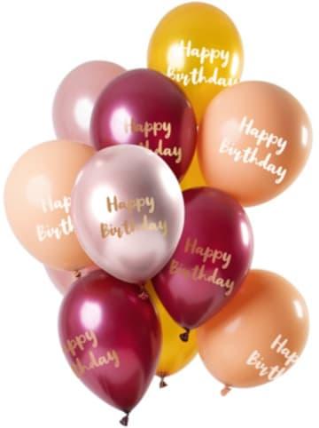 FOLAT Luftballons Happy Birthyday gold/rosa/bordeaux 30 cm, 12 Stück