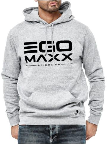 EGOMAXX Kapuzenpullover Hoodie EGO Sweater Sweatjacke Design in Grau