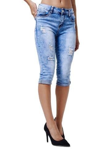 MiSS RJ Kurze Capri Jeans Shorts leichte Bermuda Sommer Hose in Blau