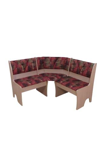 Möbel-direkt Eckbank 124x124 cm Dunja in buche natur - rot-terra