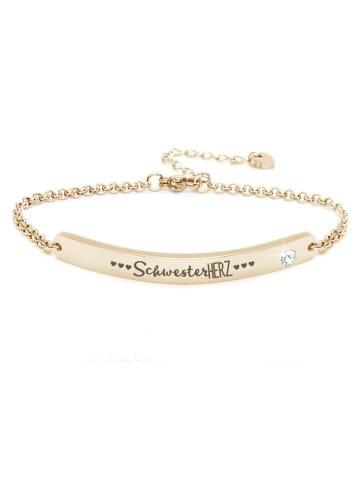"""Silvity Gravur-Armband """"Schwesterherz"""" mit Kristall Stein in Gold"""
