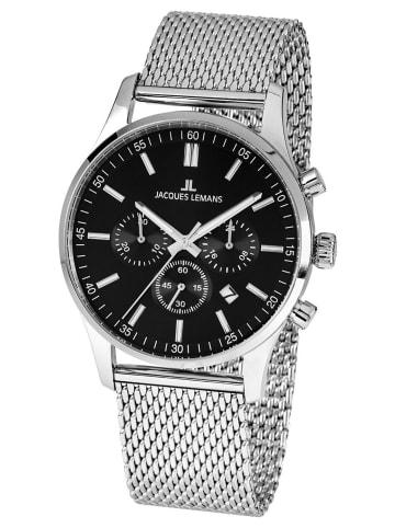 Jacques Lemans Herren-Chronograph London mit Milanaise-Armband Schwarz / Silber