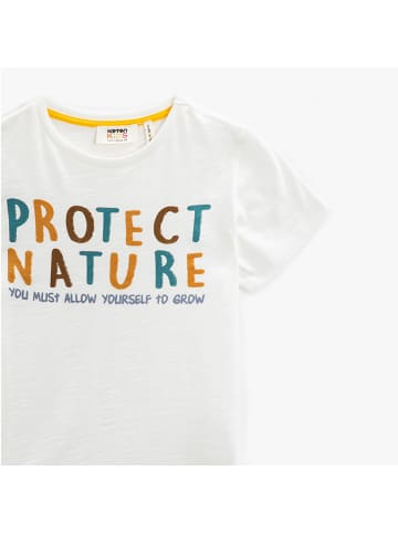 Mamino Kindermode Jungen T-Shirt -Protect nature in weiss