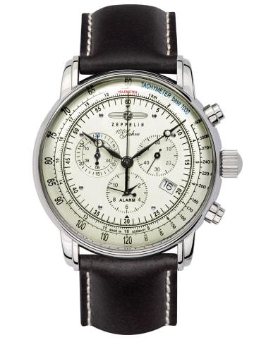 Zeppelin Alarm-Herrenchronograph 100 Jahre Zeppelin Weiß / Schwarz / Silber