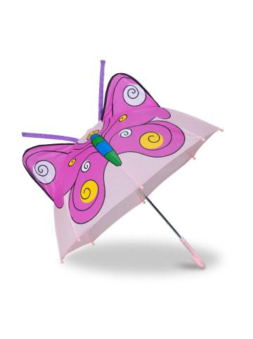 Relaxdays Kinderregenschirm Schmetterling in Pink