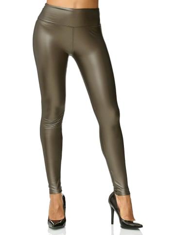 EGOMAXX Leggings Leder Optik High Waist Stretch Hose Wet Look in Bronze