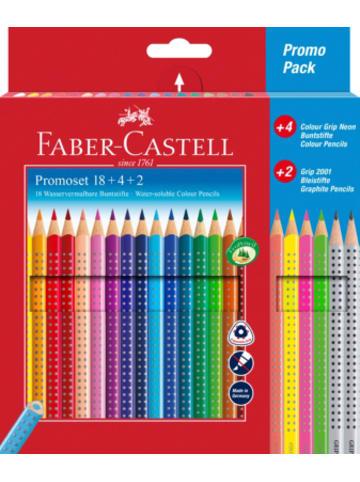 Faber-Castell Buntstifte COLOUR GRIP Promo, 18 & 4 Farben, inkl. 2 Bleistifte