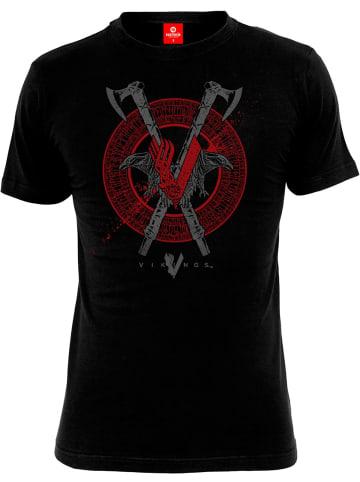 Vikings T-Shirt Axe & Raven in schwarz