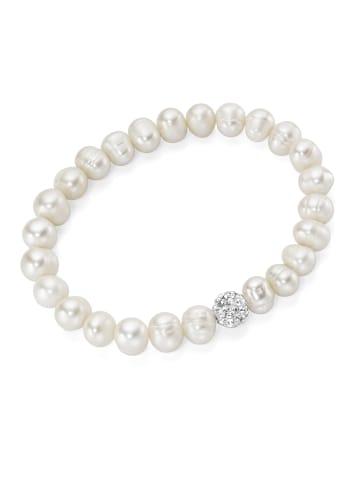 Smart Jewel Armband Mit Süßwasser Perlen Und Kristallsteinen in Weiss