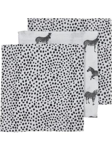 Meyco Mullwindeln - Zebra/Animal/Cheetah, 70 x 70 cm, schwarz, 3er Pack